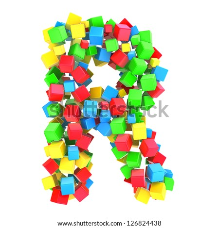 letters R of colorful cube