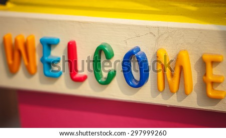 """letters spelling the word """" welcome """" - stock photo"""