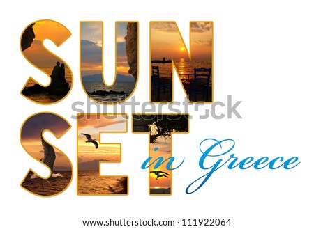Letters with photos of Santorini island, Greece - stock photo
