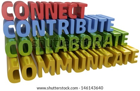 Lettter C words stack up collaboration connection contribution communication - stock photo