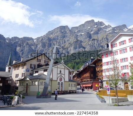LEUKERBAD, SWITZERLAND - MAY 21, 2014: The town central square in Leukerbad, Switzerland. - stock photo