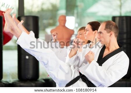 Leute im Fitnessstudio beim Training von Kampfsport, es geht um Taekwondo, der Trainer hat den schwarzen G�¼rtel - stock photo