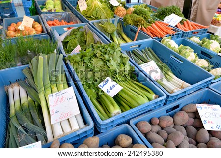 LEUVEN, BELGIUM-SEPTEMBER 12, 2014: Big choice of fresh vegetables on sale during traditional open air market in historical center of the city - stock photo