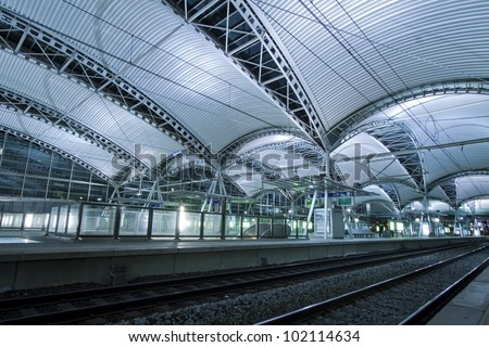 leuven train station interior belgium europe - stock photo