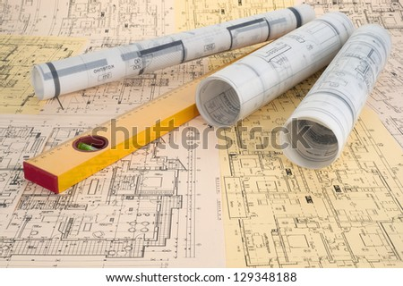 level and project drawings - stock photo