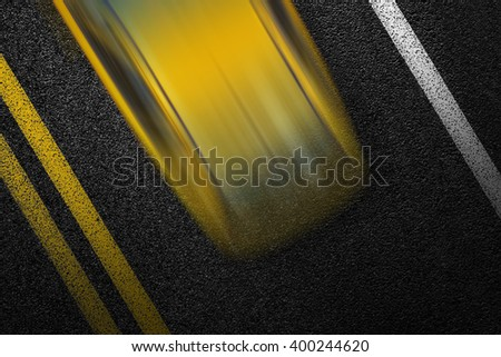 Level asphalted road with a dividing white and yellow stripes and moving with high speed a yellow car. The texture of the tarmac, top view. - stock photo