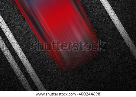 Level asphalted road with a dividing white stripes and moving with high speed a red car. The texture of the tarmac, top view. - stock photo