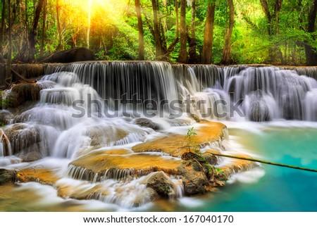 Level five of Erawan Waterfall in Kanchanaburi Province, Thailand - stock photo
