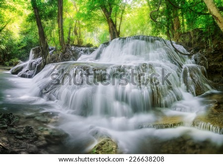 Level 7 of Huaimaekamin waterfall in Kanchanaburi in Thailand - stock photo