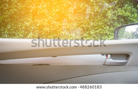 Lever to open the car door with windows view
