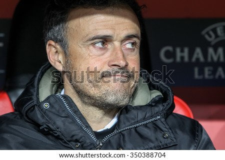 Leverkusen, Germany- December 9, 2015: Coach of Barcelona Luis Enrique during the UEFA Champions League game between Bayer 04 Leverkusen vs Barcelona at BayArena stadium - stock photo