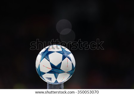 Leverkusen, Germany- December 9, 2015: The ball of the Champions League on a pedestal close-up during the UEFA Champions League game between Bayer 04 Leverkusen vs Barcelona at BayArena stadium - stock photo