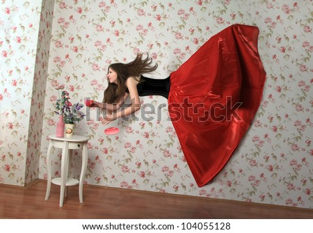levitation girl - stock photo