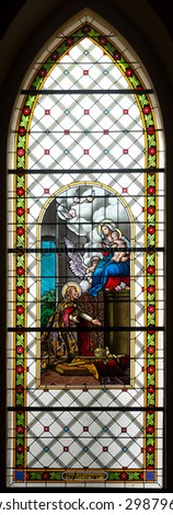 LEVOCA - MARCH 11, 2015: Windowpane in Basilica of the Visitation of the Blessed Virgin Mary in Levoca, Slovakia