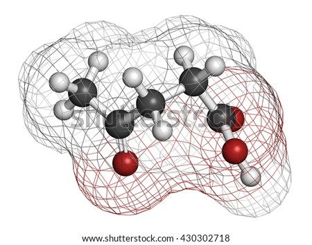 Levulinic acid molecule. Made by degradation of cellulose, potential precursor to biofuels. 3D rendering. Atoms are represented as spheres with conventional color coding: hydrogen (white), etc - stock photo