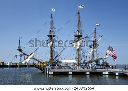 Lewes, Delaware, September 2:  The Kalmar Nyckel docked in Lewes, Delaware.  A replica of the original ship and is now used for educational purposes on September 2, 2014. - stock photo