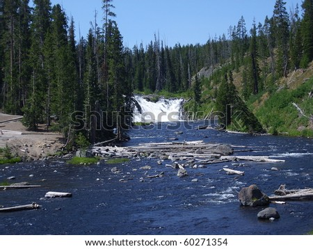 Lewis Falls in South Yellowstone National Park, USA - stock photo