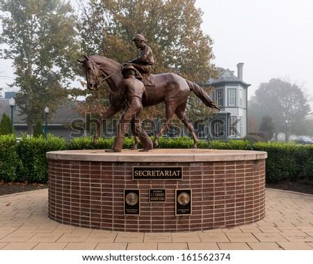 LEXINGTON, KENTUCKY - OCTOBER 29: Bronze Secretariat sculpture designed by Edwin Bogucki at the Kentucky Horse Park on October 29, 2013 in Lexington, Kentucky - stock photo