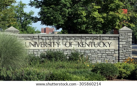 LEXINGTON, KY   AUGUST 9: An entrance to The University of Kentucky located in Lexington, Kentucky on August 9th, 2015. The University of Kentucky is a public research university established in 1865. - stock photo