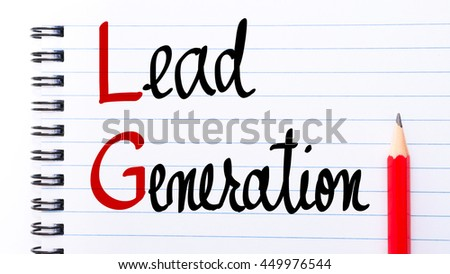 LG Lead Generation written on notebook page with red pencil on the right
