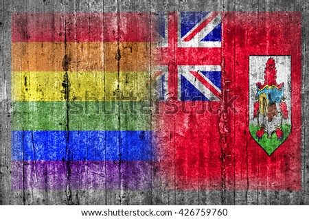 LGBT and Bermuda flag on concrete wall