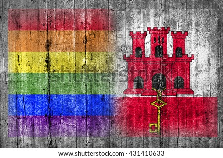 LGBT and Gibraltar flag on concrete wall