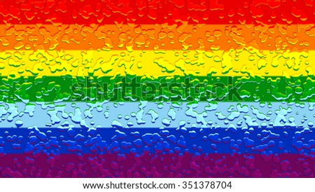 LGBT flag, rainbow flag with water drops - stock photo