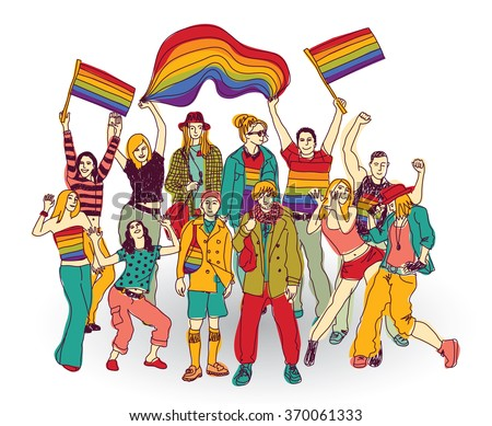 Lgbt people community set isolated group. Color illustration.
