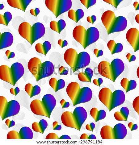 LGBT Pride Colored Hearts over White Tile Pattern Repeat Background that is seamless and repeats - stock photo