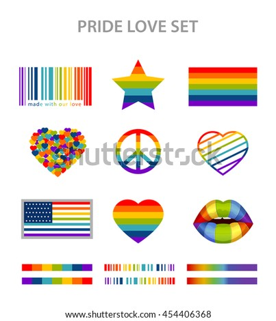 LGBT symbols set in rainbow colors: pride, freedom flags, hearts, peace, star and lips - stock photo