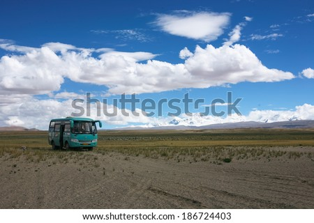Lhasa, China - September 7:  Countryroad located at 6000 mt over the sealevel on September 7, 2013 In tibet China