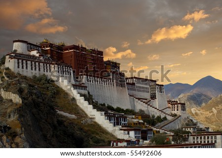Lhasa's Potala Palace, home of the Dalai Lama, stands on a hilltop. - stock photo