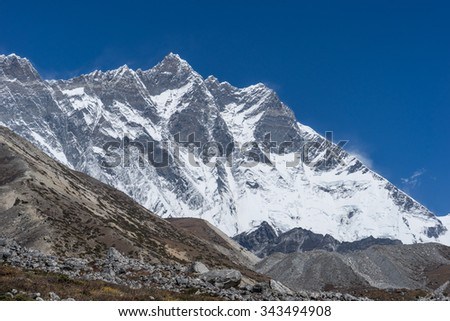 Lhotse and Lhots Shar mountain peak, Everest region