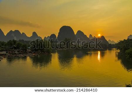 Li river at sunset, Yangshuo,Guangxi province, China - stock photo