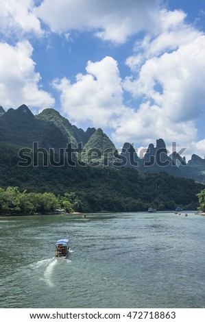 Li River scenery and karst mountains landscape, Guilin, China