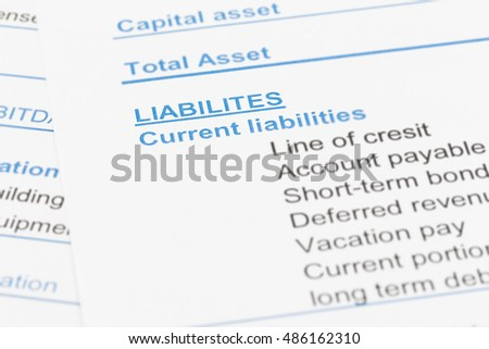 Liabilities in financial report book, document is mock-up