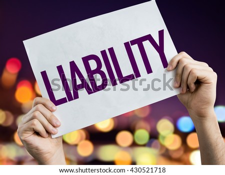 Liability placard with night lights on background - stock photo