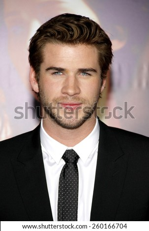 "Liam Hemsworth at the Los Angeles premiere of ""The Hunger Games: Catching Fire"" held at the Nokia Theatre L.A. Live in Los Angeles on November 18, 2013. - stock photo"