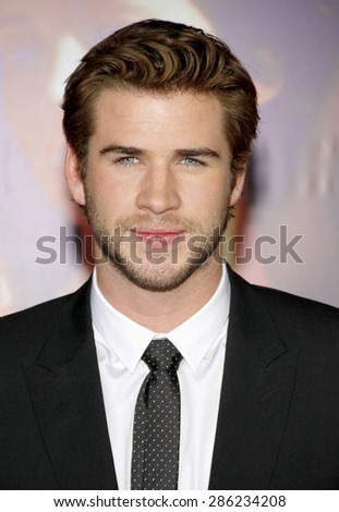 "Liam Hemsworth at the Los Angeles premiere of ""The Hunger Games: Catching Fire"" held at the Nokia Theatre L.A. Live in Los Angeles on November 18, 2013."