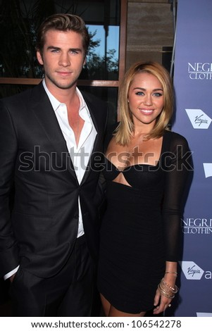 Liam Hemsworth, Miley Cyrus at the Australians in Film 8th Annual Breakthrough Awards, Hotel Intercontinental, Century City, CA 06-27-12 - stock photo