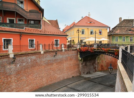 liar's bridge in sibiu, romania - stock photo