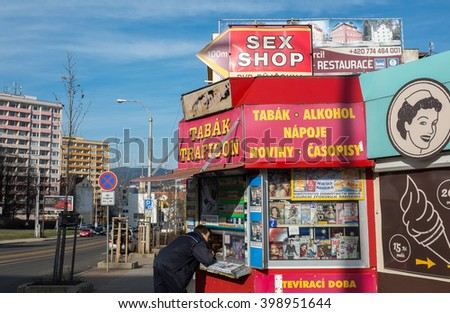 LIBEREC, CZECH REPUBLIC - MARCH 27, 2016: Colorful newsagent's shop in the downtown on March 27, 2016 in Liberec, Czech Republic.