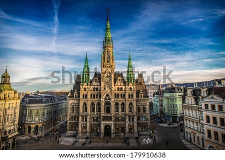 Liberec Town Hall in the Czech Republic  - stock photo