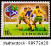 LIBERIA - CIRCA 1974: A post stamp printed LIBERIA, scotland against Scottish soccer World Cup in Munich, Germany , circa 1974 - stock photo
