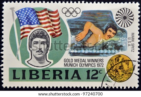 liberia circa 1972 a stamp printed in liberia shows mark spitz circa 1972