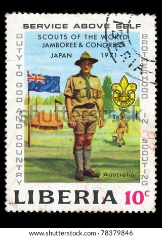 LIBERIA - CIRCA 1971: A stamp printed in Liberia shows Scouts of the world Jamboree & Congress, Japan 1971, circa 1971 - stock photo