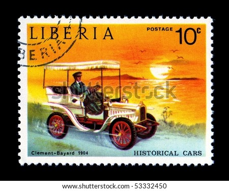 LIBERIA - CIRCA 1982: Liberia Canceled postage stamp depicting antique automobile obsolete when new government took power. Circa 1982