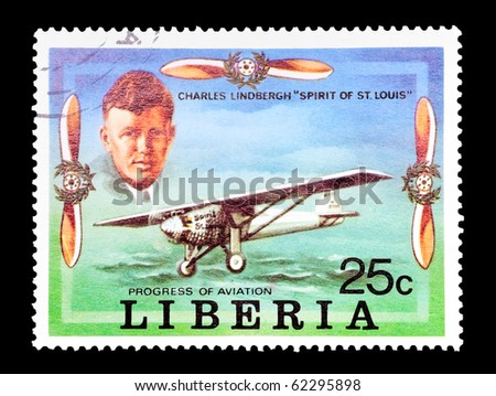LIBERIA - CIRCA 1978: mail stamp printed in Liberia featuring aviation pioneer Charles Lindbergh, circa 1978