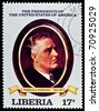 "LIBERIA - CIRCA 2000s: A stamp printed in Liberia shows President Franklin D. Roosvelt, circa 2000s. ""All USA Presidents"" series. - stock photo"