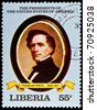 "LIBERIA - CIRCA 2000s: A stamp printed in Liberia shows President Franklin Pierce, circa 2000s. ""All USA Presidents"" series. - stock photo"